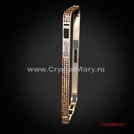 Золотой бампер на iPhone 5/5S с кристаллами Swarovski (Австрия)  www.crystalmary.ru