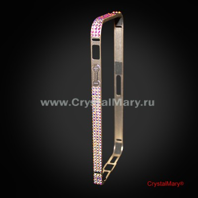 Золотой металлический бампер на iPhone 5/5S с кристаллами Swarovski (АВСТРИЯ) www.crystalmary.ru