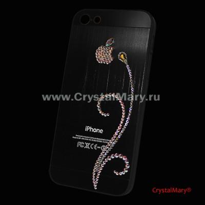 Чехол на айфон 5 с изящной бриллиантовой веточкой из страз Swarovski (Австрия) www.crystalmary.ru