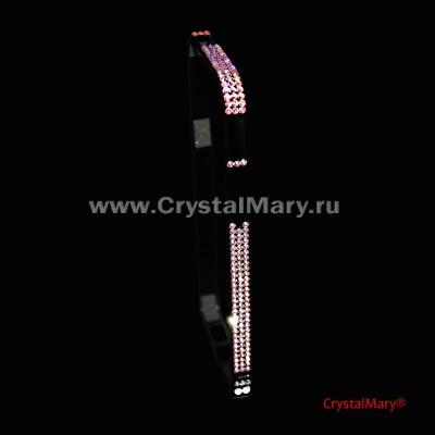 Черный металлический бампер на айфон с радужными кристаллами Сваровски (Австрия)  www.crystalmary.ru