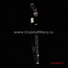 Черный металлический бампер для iPhone с черными кристаллами Сваровски  www.crystalmary.ru