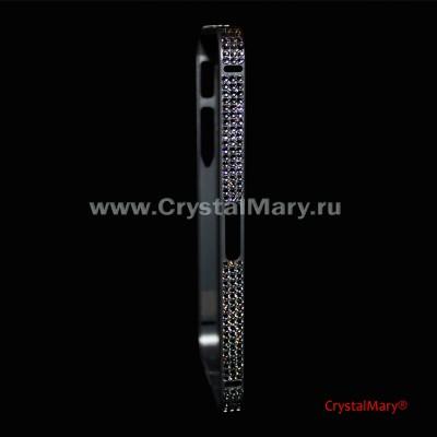 Металлический бампер на iPhone серый с кристаллами Сваровски (Австрия)  www.crystalmary.ru