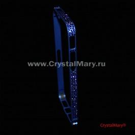 Металлический бампер для айфона синий с кристаллами Сваровски  www.crystalmary.ru