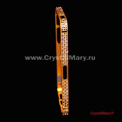 Золотой бампер на айфон с кристаллами Swarovski  www.crystalmary.ru