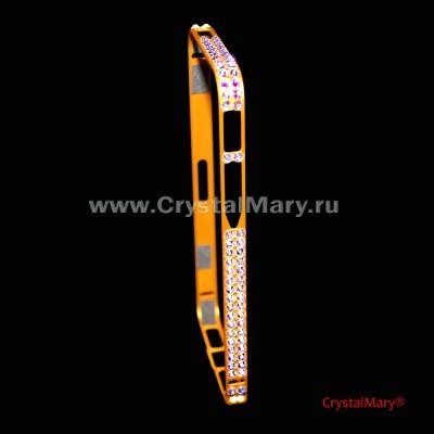 Золотой бампер на айфон с крупными радужными кристаллами Swarovski  www.crystalmary.ru