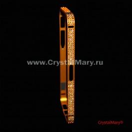 Бампер защитный на iPhone золотой с кристаллами Сваровски (Австрия)  www.crystalmary.ru