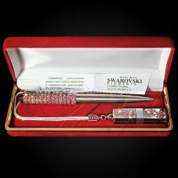 Набор ручка Parker с флеш картой Transcend 16Gb с кристаллами Swarovski