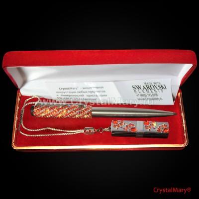 Ручка Parker с флеш картой Transcend цвет: Sun+Crystal AB www.crystalmary.ru