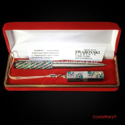 Подарочный набор Сваровски: Ручка Parker+ флеш карта www.crystalmary.ru