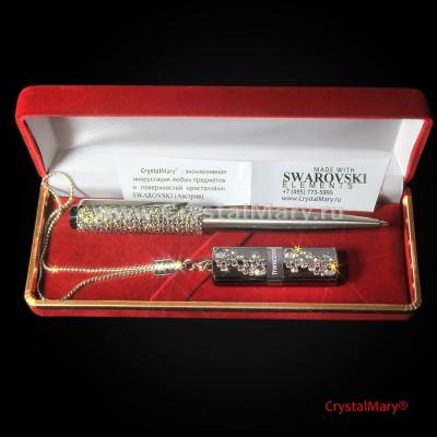 Подарочный набор ручка Parker с флеш картой Transcend 16Gb www.crystalmary.ru