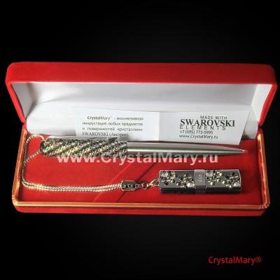 Ручка Parker с флеш картой Transcend 16Gb цвет: Jet Hematit+Crystal www.crystalmary.ru