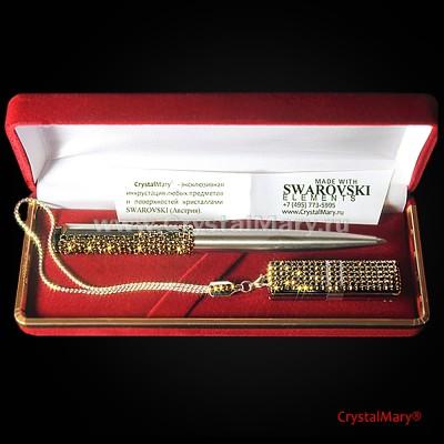 Подарочный набор ручка Паркер с флеш картой Transcend 16Gb www.crystalmary.ru