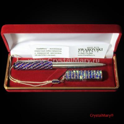 Ручка Parker с флеш картой Transcend цвет: Cobalt+Fucsia AB www.crystalmary.ru