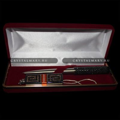 Набор: Ручка флешка Сваровски www.crystalmary.ru