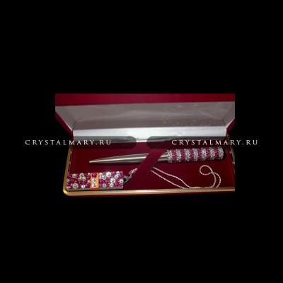 Подарочный набор ручка флешка: Фуксия в бриллиантах www.crystalmary.ru