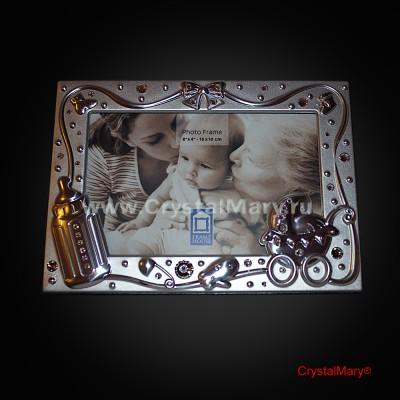 Детская фоторамка со стразами Swarovski (Австрия)  www.crystalmary.ru