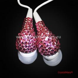 Розовые наушники со стразами www.crystalmary.ru