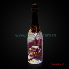 Декор бутылки. Игристое вино  www.crystalmary.ru