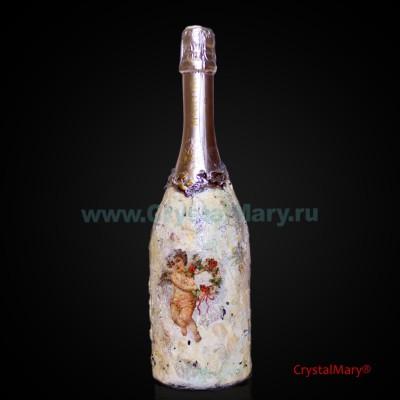 Декор бутылки Мартини www.crystalmary.ru
