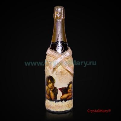 Декор бутылки шампанского www.crystalmary.ru