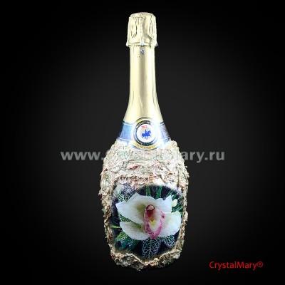 Декор свадебных бутылок  www.crystalmary.ru