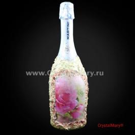 Декор бутылок на свадьбу  www.crystalmary.ru