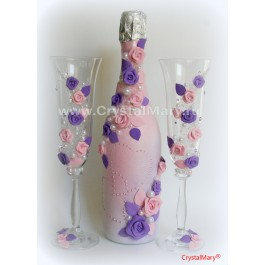 Декор бутылок шампанского  www.crystalmary.ru