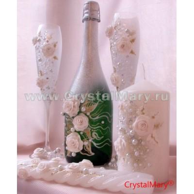 Декупаж свадебных бутылок шампанского  www.crystalmary.ru