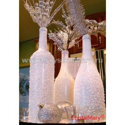 Новогоднее шампанское. Декор бутылки www.crystalmary.ru
