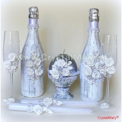 Свадебная бутылка шампанского  www.crystalmary.ru
