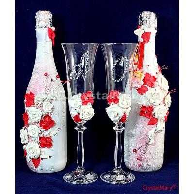 Декупаж бутылки шампанского  www.crystalmary.ru