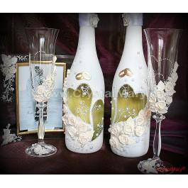 Декор бутылки шампанского на свадьбу  www.crystalmary.ru