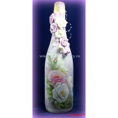 Декор бутылок цветами  www.crystalmary.ru