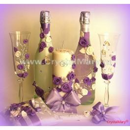 Украшение свадебных бутылок  www.crystalmary.ru