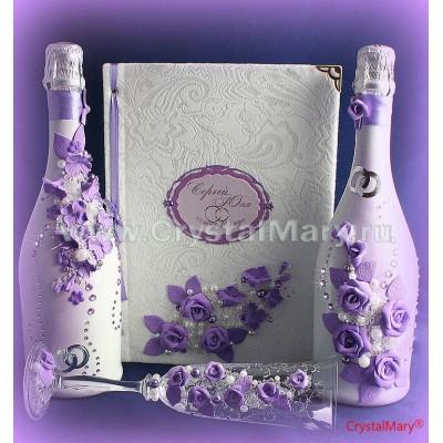 Свадебные бутылки декупаж  www.crystalmary.ru