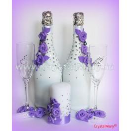 Украшение бутылок шампанского  www.crystalmary.ru