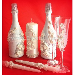 Бутылка шампанского на свадьбу  www.crystalmary.ru