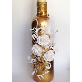 Декупаж бутылок в благородном золоте  www.crystalmary.ru