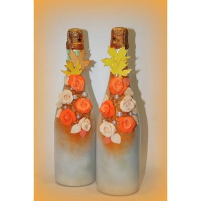 """Осенний вальс"" декор бутылок шампанского  www.crystalmary.ru"