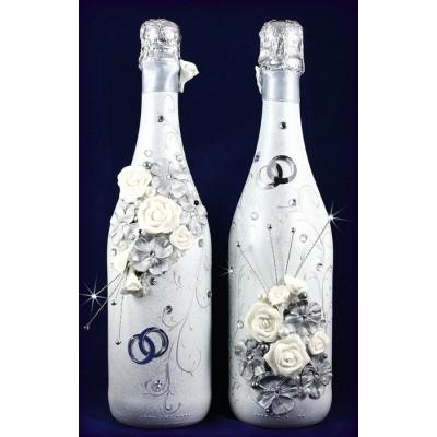 Свадебные бутылки в серебре  www.crystalmary.ru