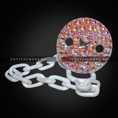 Подарок новорожденному: Круглый держатель для соски с цепочкой www.crystalmary.ru