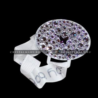 Подарок новорожденному: Держатель для соски с кристаллами Swarovski и бабочкой Аметист www.crystalmary.ru