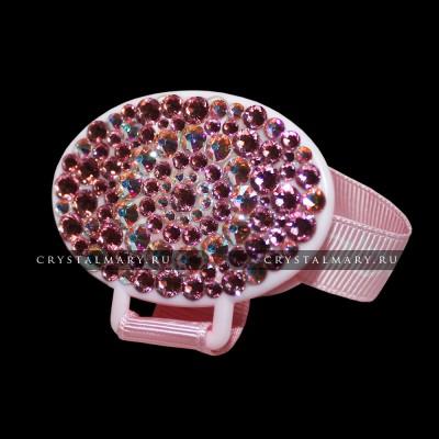 Подарок новорожденной девочке: для соски держатель с розовыми кристаллами Сваровски (Австрия) www.crystalmary.ru