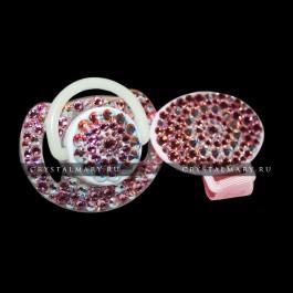 Подарки новорожденному девочке:  Соска Avent с прищепкой-держателем с розовыми кристаллами Swarovski (Австрия)  www.crystalmary.ru