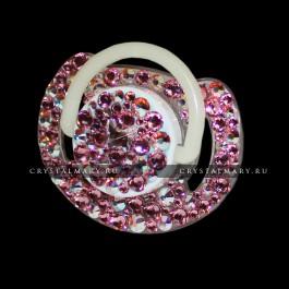 Подарки новорожденному девочке: Соска Avent с бабочкой и розовыми кристаллами Сваровски (Австрия)  www.crystalmary.ru