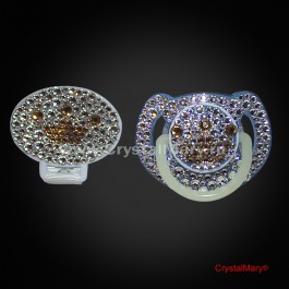 Набор соска Avent с прищепкой - держателем, инкрустированные кристаллами Swarovski (Австрия)  www.crystalmary.ru
