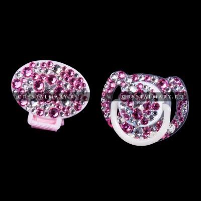 Соска Avent с прищепкой - держателем, инкрустированные розовыми кристаллами Swarovski (Австрия)  www.crystalmary.ru
