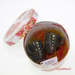 Кофейная чашечка и блюдце со стразами  www.crystalmary.ru