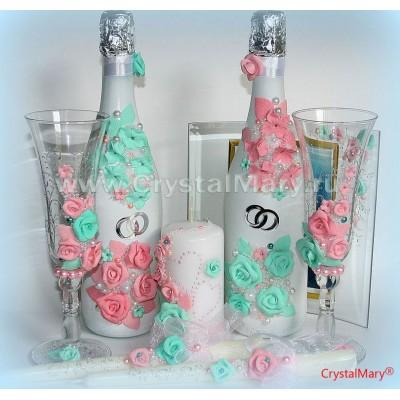 Декорирование свадебных бокалов www.crystalmary.ru