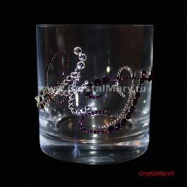 Богемское стекло бокал с вензельными инициалами из страз Сваровски  www.crystalmary.ru